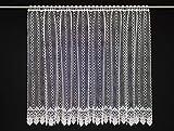VHG Visillo clásico bordado de 90 cm de alto, color blanco, ancho a elegir mediante la cantidad comprada en tramos de 11 cm, se vende por metros