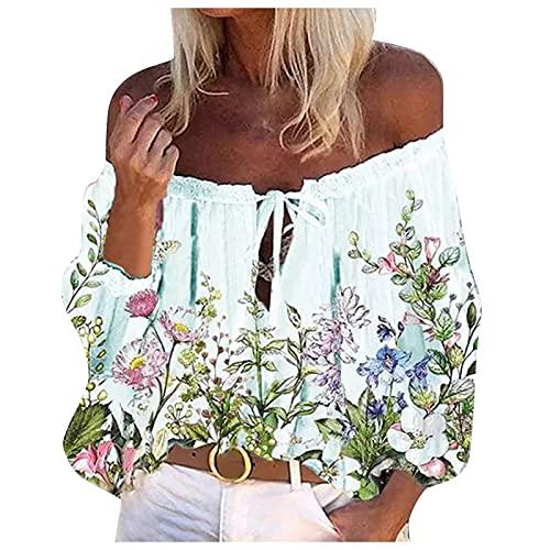 Corto Un-Cuello Camisa para Mujer, Tops Fiesta Elegantes, Tank Top, Camiseta Moda Verano, Fresco Casual Moda Blusa De Flores Top