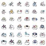 Cren 20pcs Children Kids Girls Crystal Adjustable Rings With Cute Animals