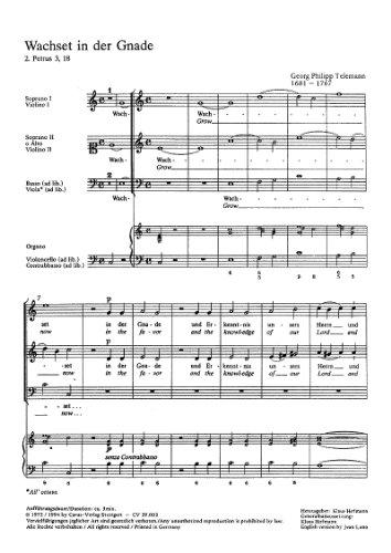 Telemann: Wachset in der Gnade (TVWV 1:1491/1). Partitur (20 St.)