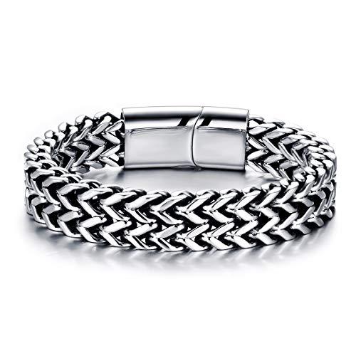 Mode Herren Armband Edelstahl Leder Herrenarmband Armbänder für Herren Jugend Unisex (22, Komplett aus Edelstahl)