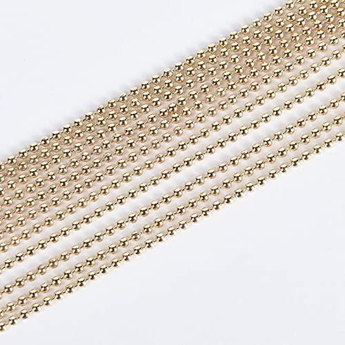 PJ Pulsera de collar de bolas de metal de 5 metros. BRICOLAJE Hallazgos de las cadenas 1.2 / 1.5 / 2.0mm Cadenas de cuentas para suministros de joyería TL808 ( Color : KC Gold , Size : 1.5mm 5Meter )
