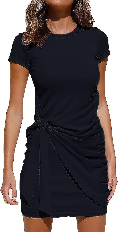 PALINDA Women's Short Sleeve Crewneck Casual Tie Waist Ruched Bodycon Mini T Shirt Dress