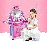 ZZAZXB Tocador Juguetes para Niña, Princesa Juego de Juguetes Tabla de Maquillaje con Luces Sonido, Taburete, Espejo y Accesorios, para Regalo de Cumpleaños para Niños más de 3 años