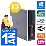 HP PC Compaq Pro 6300 SFF Intel i3-2120 RAM 16Go Disque Dur 1To Windows 10 WiFi (Reconditionné)