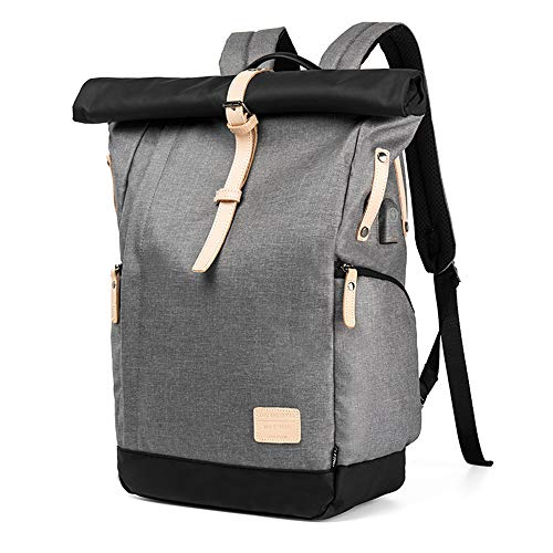 VORRINC Laptop Rucksack Damen Herren, Roll-Top Rucksack 15,6 Zoll mit USB,Wasserdicht Tagesrucksack Schulrucksack College-Rucksack Backpack (Grau)