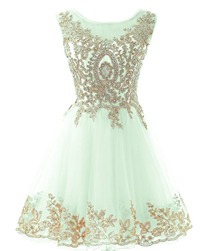 HEIMO Gold Lace Beaded Homecoming Dresses Short Sequined Appliques Cocktail Prom Gowns H130 6 Mint