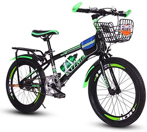 Kinderfahrrad, Gebirgsfahrrad, Studenten Bike, Hard Tail Bike, 18/20/22 Zoll, Single Speed Fahrrad, Scheibenbremsen Fahrrad, Größe: 18 Zoll, Farbe: grün (Color : Green, Size : 22 inch)