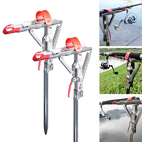 2 Packs Auto Spring Fishing Rod Holder Heavy Duty Stainless Steel Rod Stand 360 Degree Adjustable Fishing Rod Rack Stand