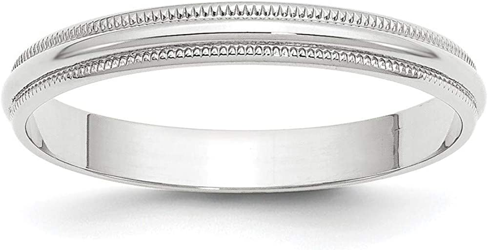 10 White Gold 3mm Milgrain Half Round Wedding Ring Band Size 5 Classic Fashion Jewelry For Women Gifts For Her