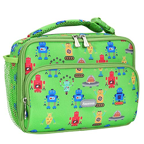 Amersun Kids Lunch Box, Insulated School Lunch Bag with Padded Liner Keeps Food Hot Cold for Long Time,Small Thermal Travel Lunch Cooler for Girls Boys-2 Pockets, Cartoon robot