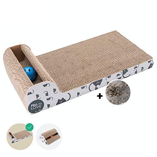 riijk Katzenspielzeug mit Klingelball & Minze |Katzen Kratzbrett Fummelbrett mit Anti-Rutsch Bodenstopper und Katzenminze | Katzen Spielzeug Beschäftigung