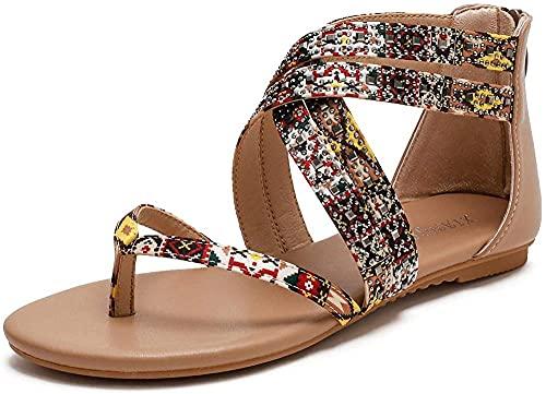 Sandalias al aire libre para mujer Sandalias de punta de punta abierta al aire libre correa de tobillo de las sandalias de las sandalias de las sandalias que no son sandalias 36-42-41_Albaricoque