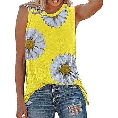 Camisola Mujer T-Shirts Moda Sexy Verano Cuello Redondo Mujer Tops Chic Pequeña Margarita Estampado Sin Mangas Diseño Diario Casual Cómodo Transpirable All-Match Mujer Blusa F-Yellow XXL