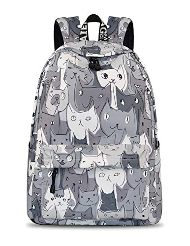 YANAIER Waterproof School Backpack for Girls Teens Cute Print Bookbag Laptop Backpack Women Travel Casual Daypack Grey Cat