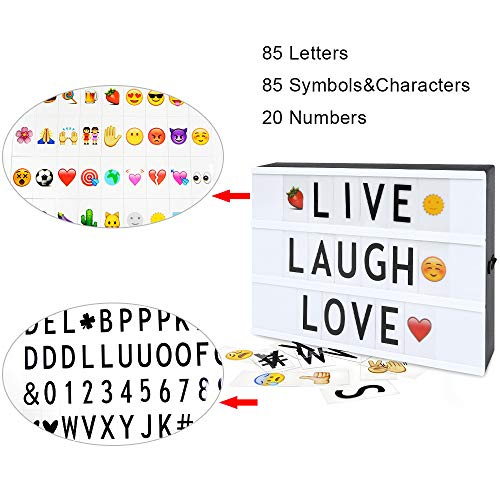 Cinema Light Box with 190 Letters Symbols - A4 Size Cinematic Light Box DIY LED Letter Lamp for Home Decor Photo Shoots Birthday Party