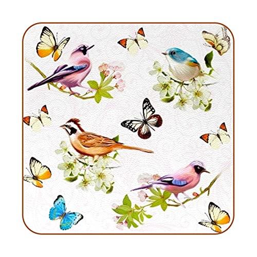 Evernever Untersetzer mit Schmetterlings- & Vogelmotiv, rutschfest, quadratisch, für Tassen, Tassen, Leder-Möbelschutz, wiederverwendbar, für Küche, Bar, Heimdekoration, 6 Stück