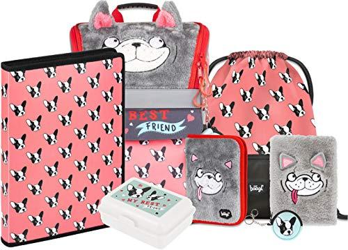 Schulranzen Mädchen Set 7 Teilig - Zippy Schultasche ab 1. Klasse - Grundschule Ranzen mit Brustgurt - Ergonomischer Schulrucksack (Doggie)