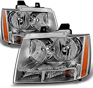 For Chevy Avalanche Suburban Tahoe Clear Headlights Head Lamps Left + Right Replacement Pair Set