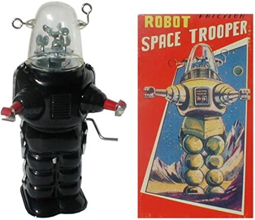 noir Tin Toy Trooper Robot