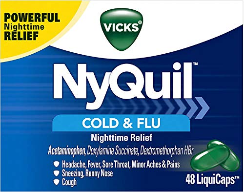 Vicks NyQuil Cough, Cold & Flu Nighttime Relief, 48 LiquiCaps - #1 Pharmacist Recommended – Nighttime Sore Throat, Fever, and Congestion Relief
