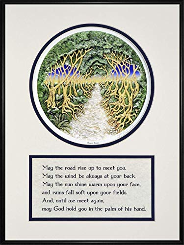 'May the Road Rise Up to Meet You' - Framed Digital Art Print - Round Road - Irish Celtic retirement farewell blessing gift