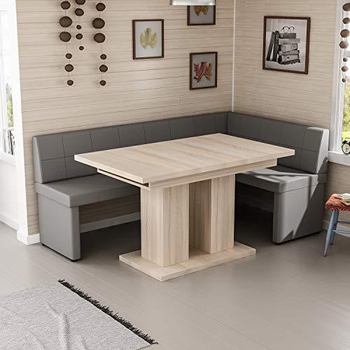 Reboz hoekbankgroep grijs hoekbank en eettafel 128 x 168 cm in vele kleuren 168 x 128 cm rechts Sonoma eiken replica