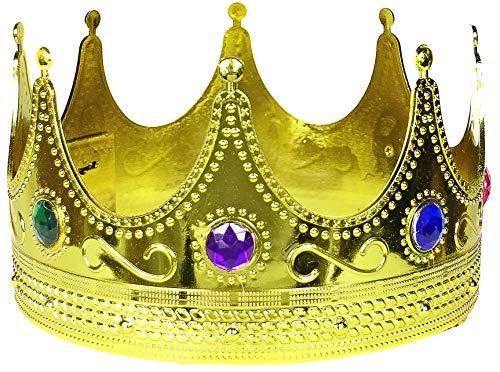 Balinco Krone in Gold | Königskrone | Königin | Crown mit farbigen Rubinen besetzt - das perfekte Accessoire für Ihr Königskostüm