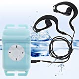 4GB IPX8 Waterproof MP3 Music Player +FM Radio with Headphones for Diver Swimming Watersports Running Sports Suitable for Underwater 10 Meter Blue Square