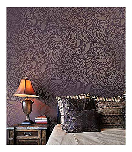 Paisley Allover Wall Stencil – Wall Painting Stencils for Easy Room Makeover – Large Stencil for Painting Walls – Stenciling Instead of Wallpaper Stencils for Walls