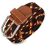 N/A. Cinturón para hombre Negro y bandera España. Cinturón elástico