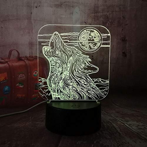 3D LED Night Light,New Full-Moon Night Howl Wolf LED Acrylic RGB USB Home Decro Kids Desk Lamp Child lamp for Boys and Girls(Remote Control)