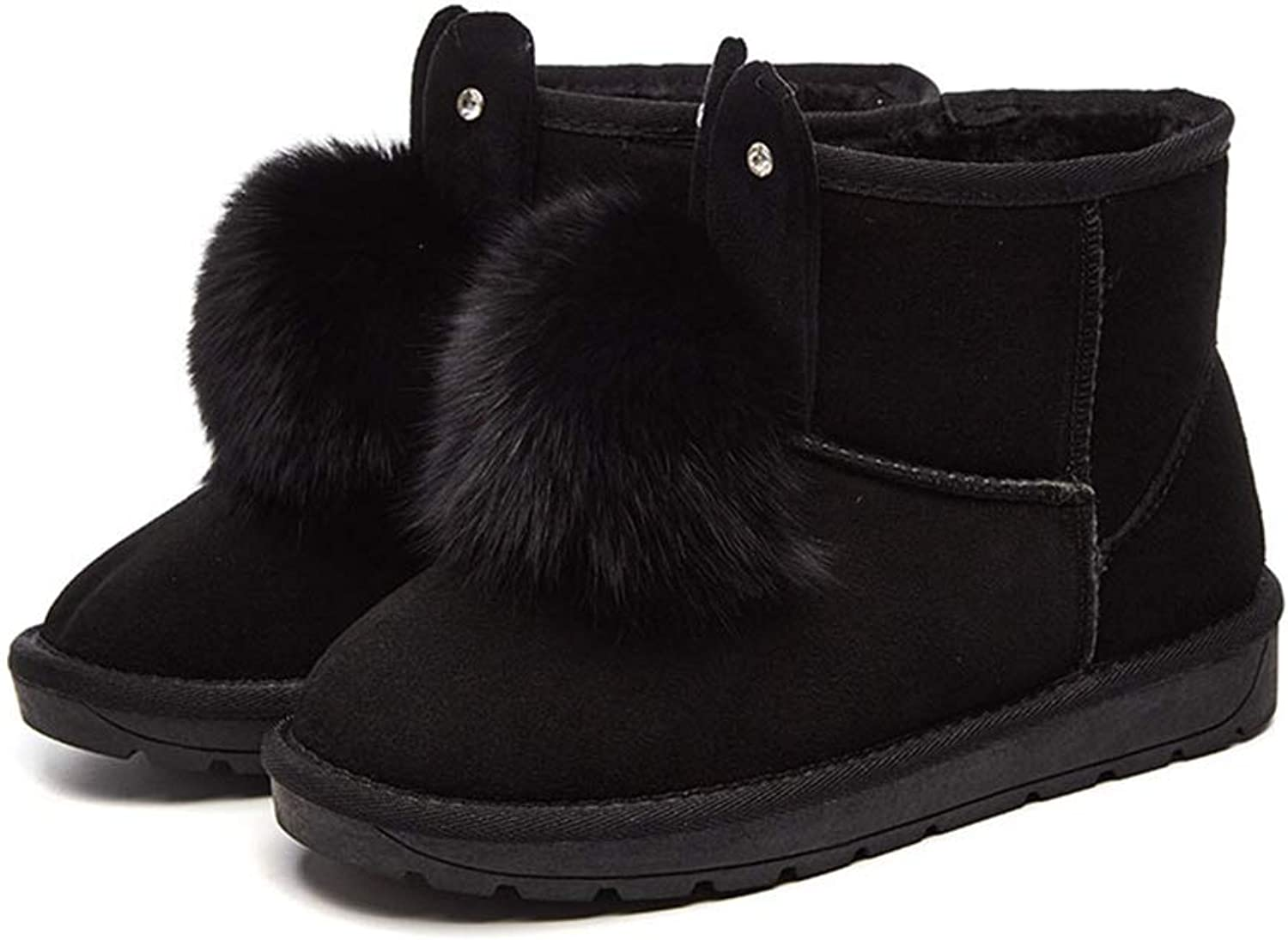 Women's Winter Warm Snow Bootsfemale Rabbit Ears Boots Warm Non-Slip Winter Cotton shoes Pom-Poms Ankle Boots