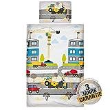 Aminata Kids - Kinderbettwäsche Bagger-Motiv 100-x-135-cm, 40x60 cm, hell-blau, gelb - Jungen -...