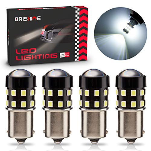 BRISHINE 4-Pack 1000 Lumens Super Bright 1156 1073 1141 7506 BA15S LED Bulbs 6000K Xenon White 24-SMD LED Chipsets with Projector for Backup Reverse Lights, Parking Lights, Daytime Running Lights