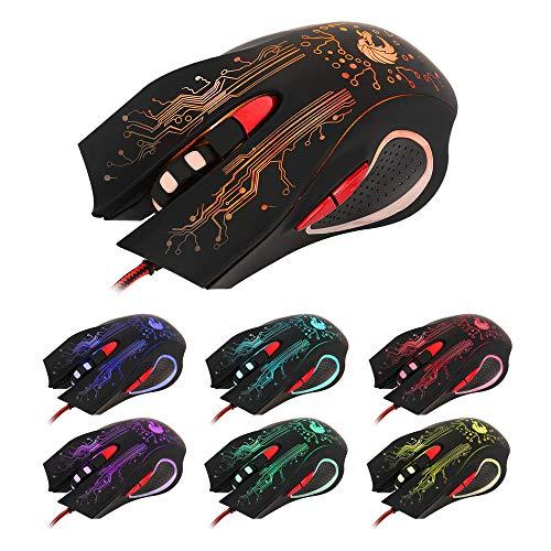 Ratones De Juego,6 Botones,5 Archivos De Ajuste De Ppp,Luces De Carreras De Caballos De 7 Colores,Esport Pc Mouse,Negro