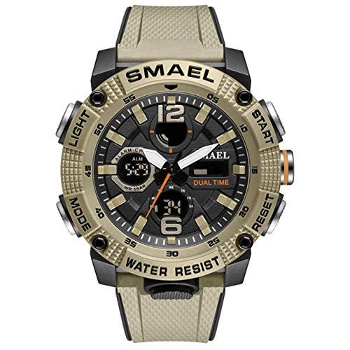 SMAEL Reloj Analógico Digital Militar Reloj Deportivo Hombres Dual Dial Negocio Casual Multifunción Relojes De Pulsera Electrónicos Reloj Resistente,Caqui