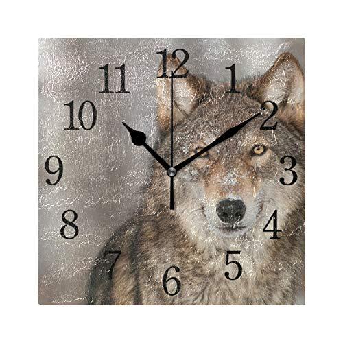 WowPrint Quadratische Wanduhr, Wildlife Wolf, Acryl, Nicht tickend, dekorative Kunst-Malerei für Büro, Klassenzimmer, Schlafzimmer, Wohnzimmer, Badezimmer, Küche, Dekor
