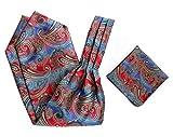 HISDERN uomini ascot cravattino tessuti broccato floreale paisley & fazzoletto set