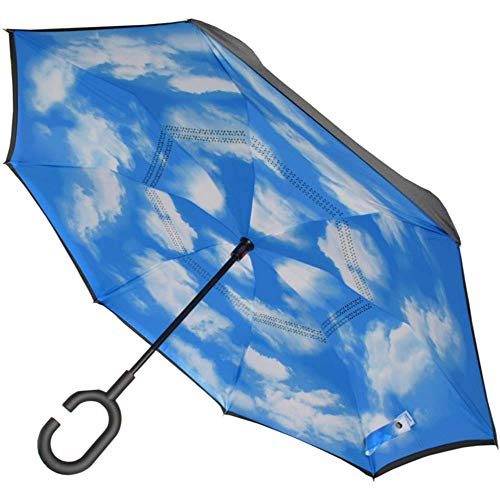 COLLAR AND CUFFS LONDON - Inside Out Stockschirm SEHR STARK - Windproof - Verstärkt mit Fiberglas - StormProtector StayDry - rutschfeste C Griff - Regenschirm - Himmel Blau, Wolken, Schwarz