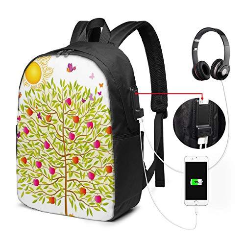 Usicapwear rugzak, vrolijk land zomer boom met groene bladeren vogels en kleurrijke rijpe appels