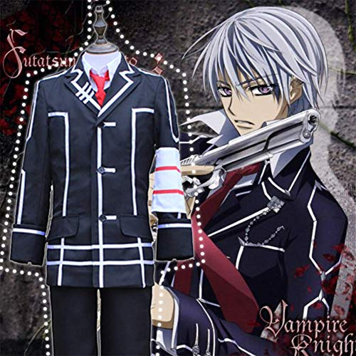 GGOODD Anime Vampire Knight Kiryu Zero Halloween Cosplay Costumes President of The Hunters Association Academy Protector Boy's School Uniform Mens JK Uniform,Black,XL