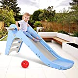 WELSPO Freestanding Slides for Kids, Baby Slide Indoor/Outdoor Climber Toddler Slide with Basketball Hoop&Ball, Kids Slides for Backyard Easy Setup (Blue+Grey)