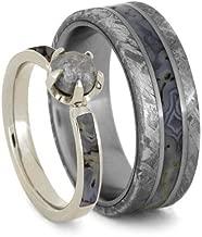 10k White Gold Rough Diamond, Dino Bone Engagement Ring and Gibeon Meteorite, Dinosaur Bone Comfort-Fit Titanium Wedding Band, Set for Him and Her