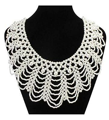 LEYSTARE Women's RBG Dissent Collar Detachable Pearl Beaded False Collar Choker Necklace Costume (White)