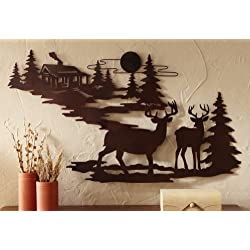 Woodland Cabin & Deer Metal Wall Art (1)