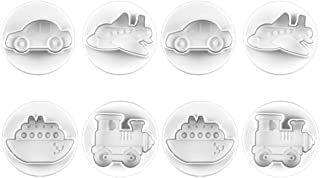 Bestonzon 8pcs Vehicle Cookie Cutter Molds Plastic Spring Press Transportation Biscuit Stamps Cake Candy Fondant Molds for...