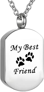 Cremation Jewelry for Ashes for Pet Stainless Steel Keepsake Waterproof Memorial Pendant Ash Holder Paw Print Urn Necklace for Cat Dog's Ashes with Filling Kit