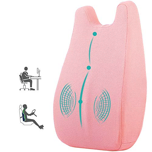 Lumbar Support Pillow Memory Foam Back Support for Chair Office Computer Car Seat,Lumbar Back Support Pillow Back Cushion Orthopedic Backrest Recliner with Breathable for Back Pain Relief (Pink)