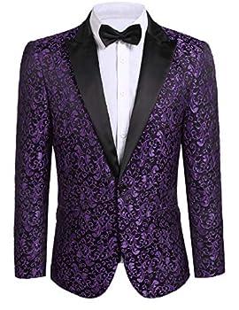 JINIDU Men s Floral Party Dress Suit Stylish Dinner Jacket Wedding Blazer Prom Tuxedo Purple